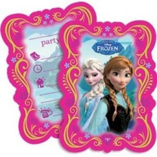 Afbeelding van Uitnodigingen Frozen Roze