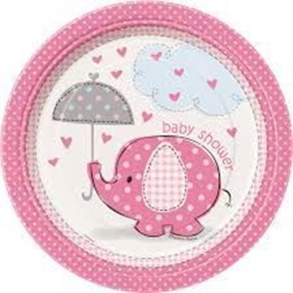 Afbeeldingen van Babyshower bordjes klein olifant roze