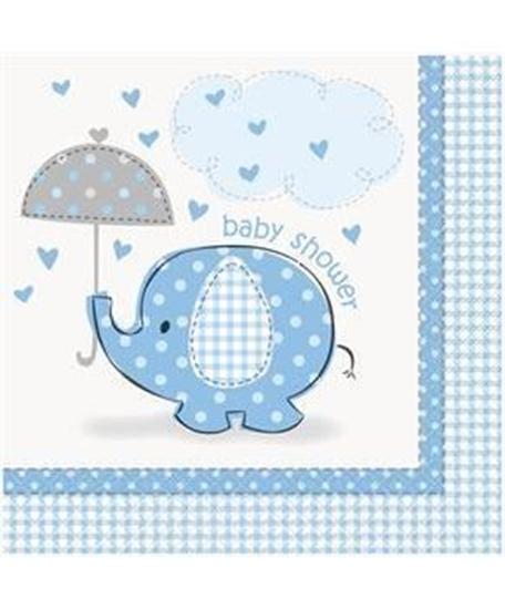 Afbeelding van Babyshower servetten Olifant Blauw