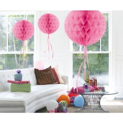 Afbeeldingen van Babyshower honeycomb rond roze