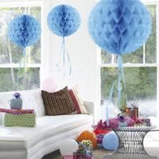 Afbeelding van Babyshower honeycomb rond blauw