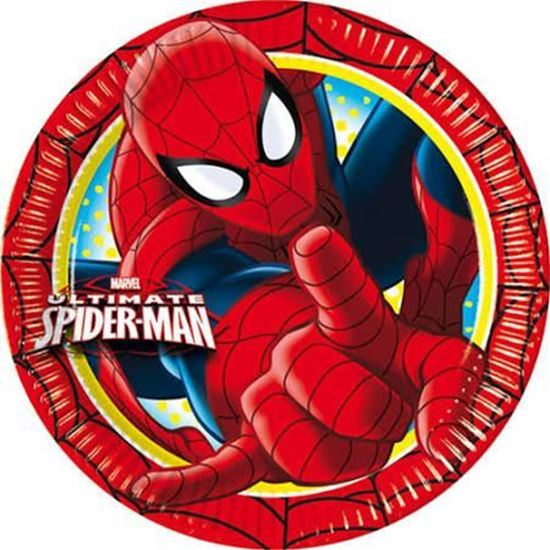 Afbeelding van Spiderman bordjes 19cm rood