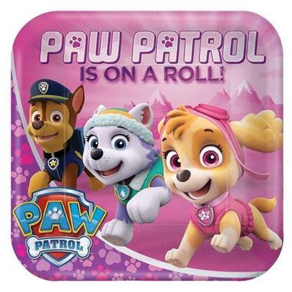 Afbeeldingen van Bordjes Paw Patrol roze vierkant klein