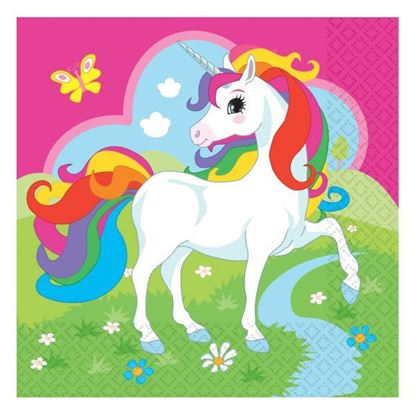 Afbeeldingen van Unicorn servetten 33x33 20 stuks