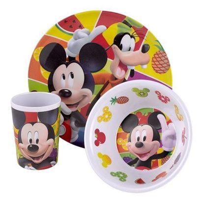 Afbeeldingen van 3 delig servies Mickey Mouse clubhouse