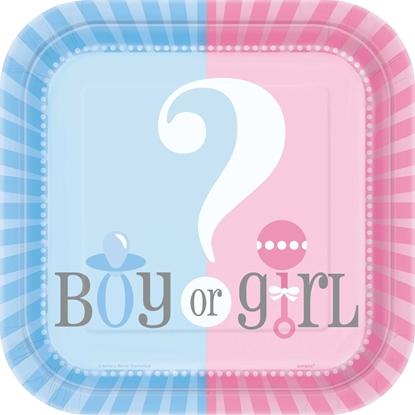 Afbeeldingen van Boy/girl bordjes 18cm babyshower