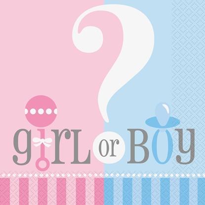 Afbeeldingen van Boy/girl servetten 20 stuks babyshower
