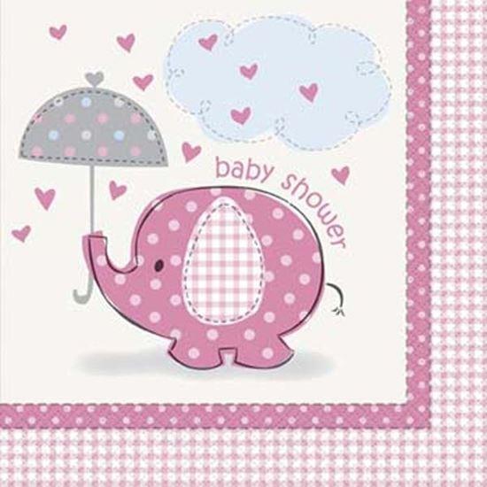Afbeelding van Babyshower servetten Olifant roze